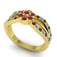 Simple Floral Pave Kalikda Ruby Ring with Swiss Blue Topaz and Garnet in 14k Yellow Gold