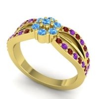 Simple Floral Pave Kalikda Swiss Blue Topaz Ring with Amethyst and Garnet in 18k Yellow Gold