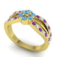 Simple Floral Pave Kalikda Swiss Blue Topaz Ring with Aquamarine and Amethyst in 14k Yellow Gold