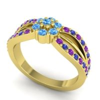Simple Floral Pave Kalikda Swiss Blue Topaz Ring with Blue Sapphire and Amethyst in 14k Yellow Gold