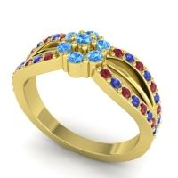 Simple Floral Pave Kalikda Swiss Blue Topaz Ring with Blue Sapphire and Ruby in 18k Yellow Gold