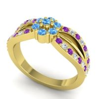 Simple Floral Pave Kalikda Swiss Blue Topaz Ring with Diamond and Amethyst in 18k Yellow Gold