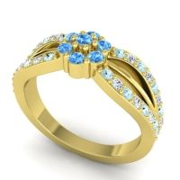 Simple Floral Pave Kalikda Swiss Blue Topaz Ring with Diamond and Aquamarine in 14k Yellow Gold