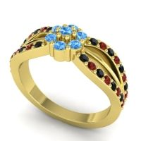 Simple Floral Pave Kalikda Swiss Blue Topaz Ring with Garnet and Black Onyx in 18k Yellow Gold