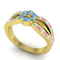 Simple Floral Pave Kalikda Swiss Blue Topaz Ring with Pink Tourmaline and Aquamarine in 18k Yellow Gold