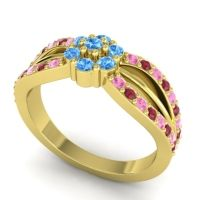 Simple Floral Pave Kalikda Swiss Blue Topaz Ring with Ruby and Pink Tourmaline in 14k Yellow Gold
