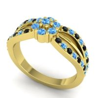 Simple Floral Pave Kalikda Swiss Blue Topaz Ring with Black Onyx in 14k Yellow Gold