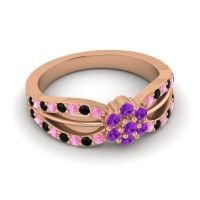 Simple Floral Pave Kalikda Amethyst Ring with Black Onyx and Pink Tourmaline in 18K Rose Gold