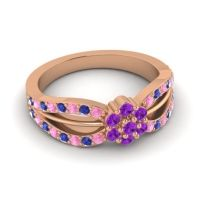 Simple Floral Pave Kalikda Amethyst Ring with Blue Sapphire and Pink Tourmaline in 14K Rose Gold