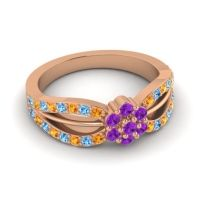 Simple Floral Pave Kalikda Amethyst Ring with Swiss Blue Topaz and Citrine in 14K Rose Gold
