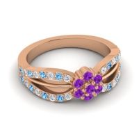 Simple Floral Pave Kalikda Amethyst Ring with Swiss Blue Topaz and Diamond in 18K Rose Gold