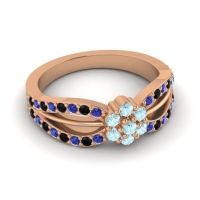 Simple Floral Pave Kalikda Aquamarine Ring with Black Onyx and Blue Sapphire in 14K Rose Gold