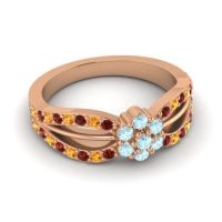 Simple Floral Pave Kalikda Aquamarine Ring with Citrine and Garnet in 14K Rose Gold