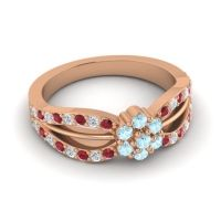 Simple Floral Pave Kalikda Aquamarine Ring with Diamond and Ruby in 18K Rose Gold