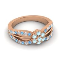 Simple Floral Pave Kalikda Aquamarine Ring with Diamond and Swiss Blue Topaz in 14K Rose Gold