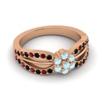 Simple Floral Pave Kalikda Aquamarine Ring with Garnet and Black Onyx in 18K Rose Gold