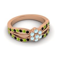 Simple Floral Pave Kalikda Aquamarine Ring with Peridot and Black Onyx in 14K Rose Gold