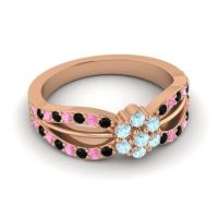 Simple Floral Pave Kalikda Aquamarine Ring with Pink Tourmaline and Black Onyx in 18K Rose Gold