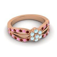 Simple Floral Pave Kalikda Aquamarine Ring with Pink Tourmaline and Garnet in 18K Rose Gold