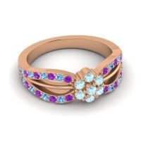 Simple Floral Pave Kalikda Aquamarine Ring with Swiss Blue Topaz and Amethyst in 14K Rose Gold