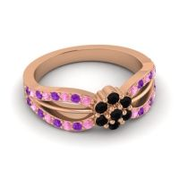 Simple Floral Pave Kalikda Black Onyx Ring with Amethyst and Pink Tourmaline in 14K Rose Gold