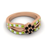 Simple Floral Pave Kalikda Black Onyx Ring with Aquamarine and Peridot in 14K Rose Gold