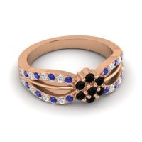 Simple Floral Pave Kalikda Black Onyx Ring with Diamond and Blue Sapphire in 18K Rose Gold