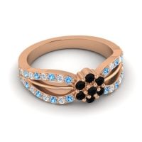 Simple Floral Pave Kalikda Black Onyx Ring with Diamond and Swiss Blue Topaz in 14K Rose Gold