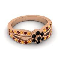 Simple Floral Pave Kalikda Black Onyx Ring with Garnet and Citrine in 18K Rose Gold
