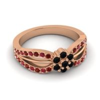 Simple Floral Pave Kalikda Black Onyx Ring with Ruby and Garnet in 18K Rose Gold