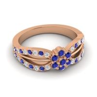 Simple Floral Pave Kalikda Blue Sapphire Ring with Diamond in 14K Rose Gold
