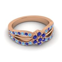 Simple Floral Pave Kalikda Blue Sapphire Ring with Swiss Blue Topaz in 18K Rose Gold