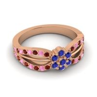 Simple Floral Pave Kalikda Blue Sapphire Ring with Pink Tourmaline and Garnet in 14K Rose Gold