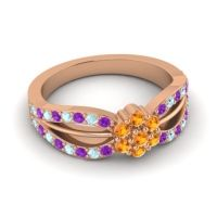 Simple Floral Pave Kalikda Citrine Ring with Aquamarine and Amethyst in 18K Rose Gold