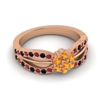 Simple Floral Pave Kalikda Citrine Ring with Black Onyx and Ruby in 18K Rose Gold