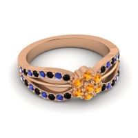 Simple Floral Pave Kalikda Citrine Ring with Blue Sapphire and Black Onyx in 18K Rose Gold