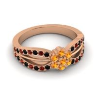 Simple Floral Pave Kalikda Citrine Ring with Garnet and Black Onyx in 18K Rose Gold