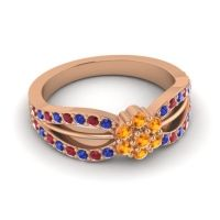Simple Floral Pave Kalikda Citrine Ring with Ruby and Blue Sapphire in 14K Rose Gold