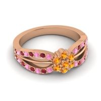 Simple Floral Pave Kalikda Citrine Ring with Ruby and Pink Tourmaline in 14K Rose Gold