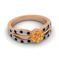 Simple Floral Pave Kalikda Citrine Ring with Swiss Blue Topaz and Black Onyx in 18K Rose Gold