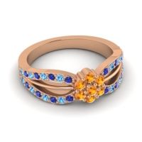 Simple Floral Pave Kalikda Citrine Ring with Swiss Blue Topaz and Blue Sapphire in 14K Rose Gold