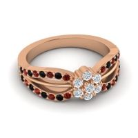 Simple Floral Pave Kalikda Diamond Ring with Black Onyx and Garnet in 18K Rose Gold