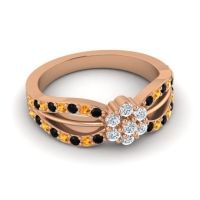 Simple Floral Pave Kalikda Diamond Ring with Citrine and Black Onyx in 14K Rose Gold