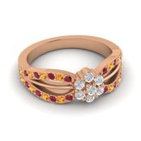 Simple Floral Pave Kalikda Diamond Ring with Citrine and Ruby in 18K Rose Gold