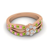 Simple Floral Pave Kalikda Diamond Ring with Pink Tourmaline and Peridot in 18K Rose Gold