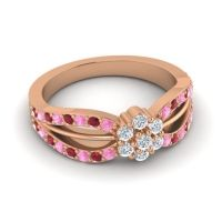Simple Floral Pave Kalikda Diamond Ring with Ruby and Pink Tourmaline in 18K Rose Gold