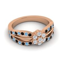 Simple Floral Pave Kalikda Diamond Ring with Swiss Blue Topaz and Black Onyx in 18K Rose Gold