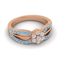 Simple Floral Pave Kalikda Diamond Ring with Swiss Blue Topaz in 18K Rose Gold