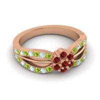 Simple Floral Pave Kalikda Garnet Ring with Aquamarine and Peridot in 14K Rose Gold