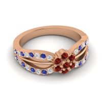 Simple Floral Pave Kalikda Garnet Ring with Blue Sapphire and Diamond in 18K Rose Gold